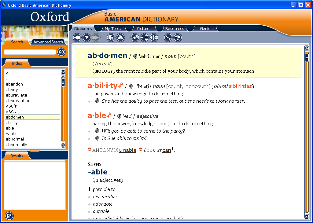 list of words in advanced american dictionary