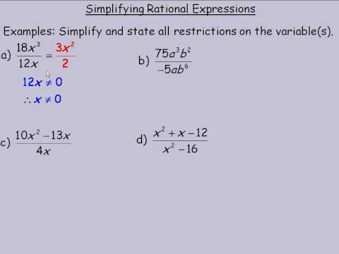 how to simplify rational expressions pdf
