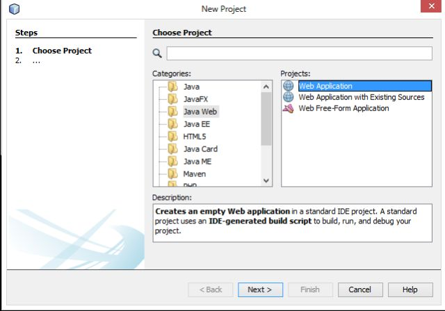 how to create a website in web application java netbeans