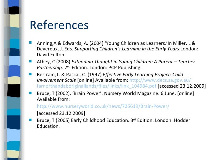 parental involvement thesis in the early childhood education pdf