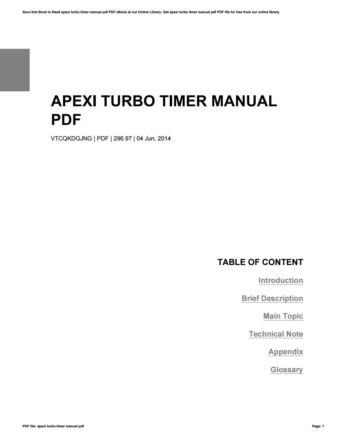 how to apexi tubo timer manual