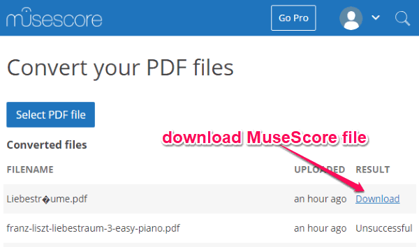 how to import pdf in musescore