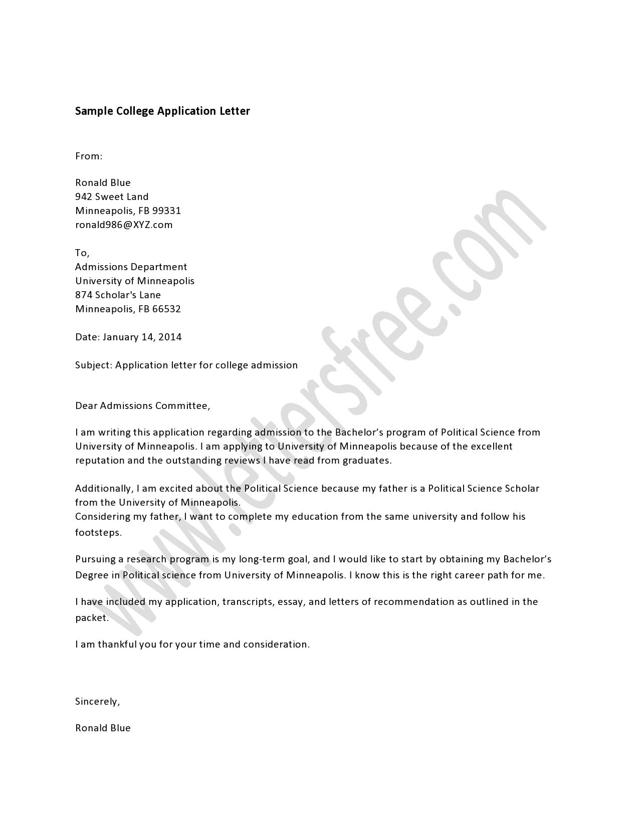 how to start your application letter in college