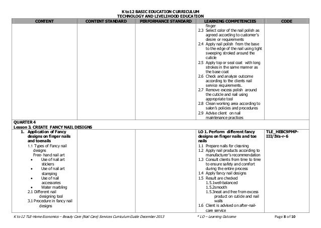 k to 12 curriculum guide tle grade 8