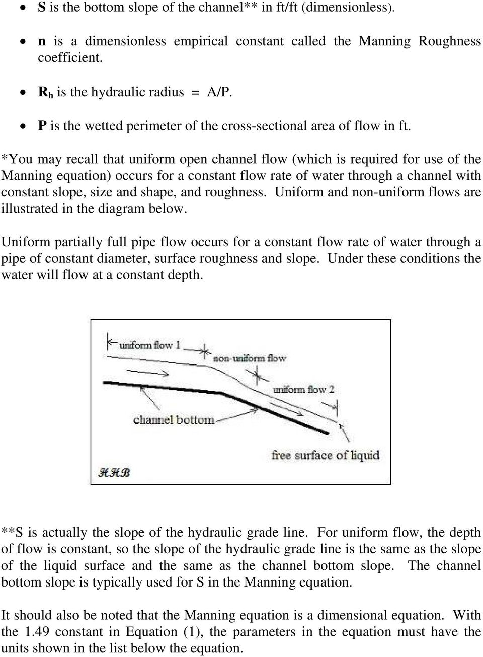 manual computation of partially full pipe