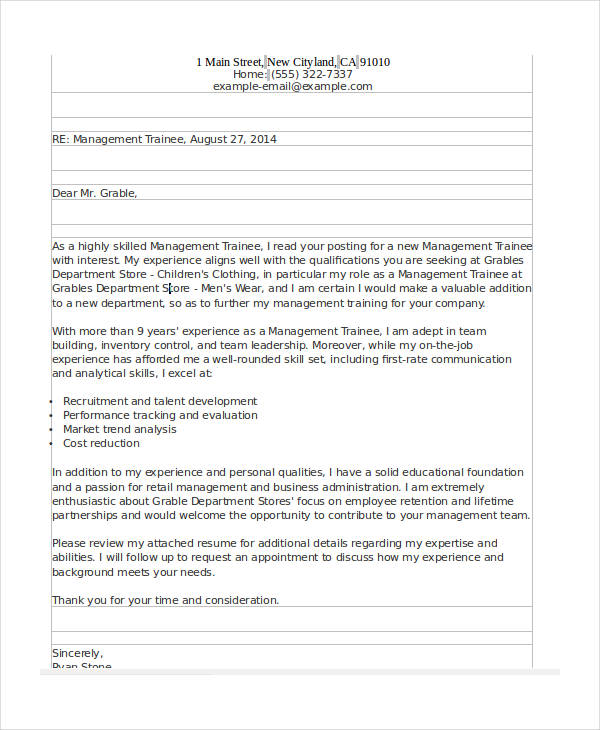 management trainee formal application letter