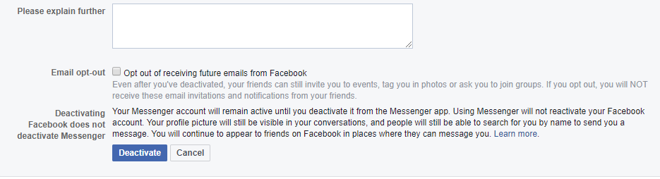 how to deactivate messenger in mobile without privacy & terms