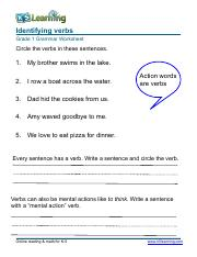 identifying verbs worksheet for grade 1 pdf