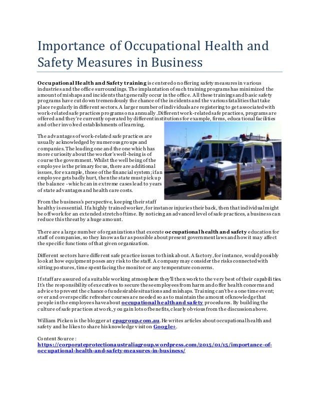 importance of occupational health and safety pdf