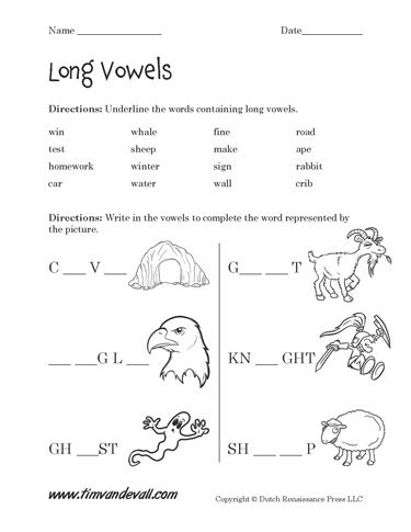 long and short vowel worksheets pdf