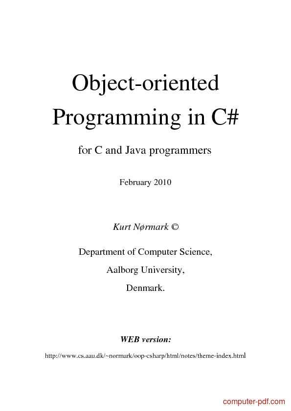 object oriented programming c sharp pdf download
